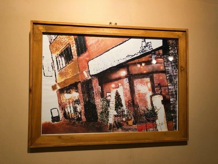 ローズカフェの外観を描いた絵