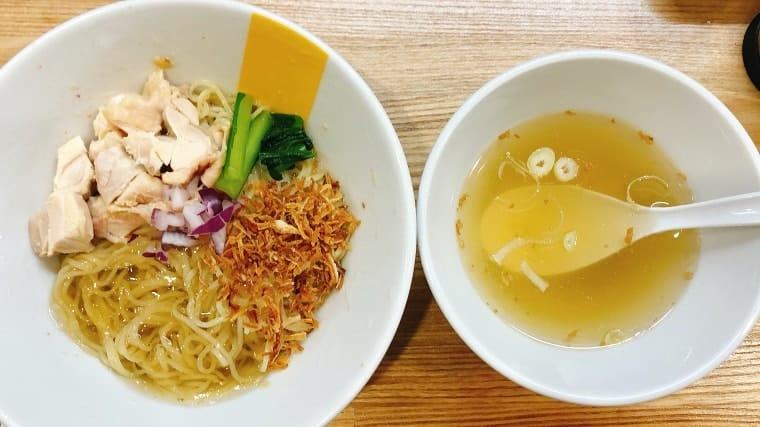 冷たい塩生姜油そば+温かい生姜スープ